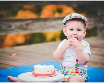 Cake smash outfit boy, first Birthday outfit boy, argyle hat, suspenders and diaper cover set, baby boy smash cake outfit  -  made to order