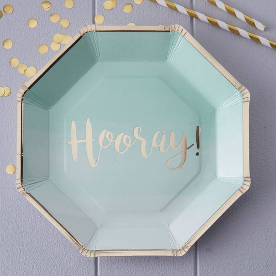 Mint Gold Ombre Paper Party Plates Mint Paper Plates Birthday Paper Plates Hen Party Plates Gold Paper Plates New Baby from supersweetparty on Etsy ... & Mint Gold Ombre Paper Party Plates Mint Paper Plates Birthday ...