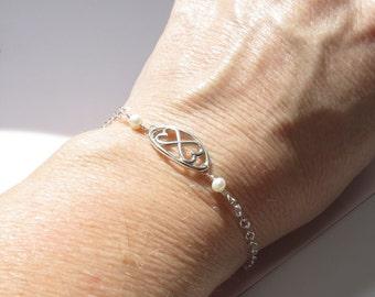 Infinity Two Hearts Bracelet , Infinity Bracelet , Love Bracelet , Bridesmaids Bracelet , Friendship Bracelet