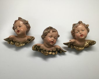 Three Vintage 1940s Porcelain Cherub Angel wall Plaques Made In West Germany