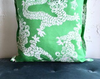 22x22 Green Dragons Pillow Cover, Livingroom or Bedroom Pillow Cover, 3 sided Flanged Decorative Pillow Cover, Lilly Pulitzer Dragons