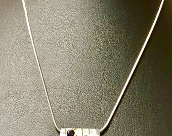 Vintage Sterling Silver Peridot and Amethyst Necklace