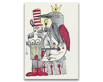 "ORIGINAL Pen & Ink Marker Drawing (Unframed) - ""Queen of Crows"""