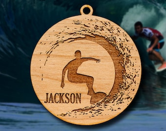 Wooden Surfing Ornament