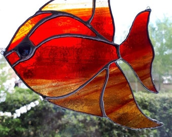 Stained glass fish sun catcher Angel fish Tropical fish Fathers day gift