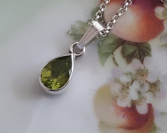 Peridot necklace, option for sterling silver chain lengths, faceted teardrop gemstone, option for various lengths