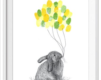 Baby shower gift - bunny print with inks, fingerprint art, thumbprint art, birthday party, shower ideas, bunny, shower guestbook