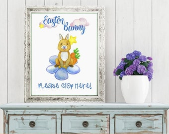 Easter Printable Digital Wall Art - Easter Funny Please Stop Here