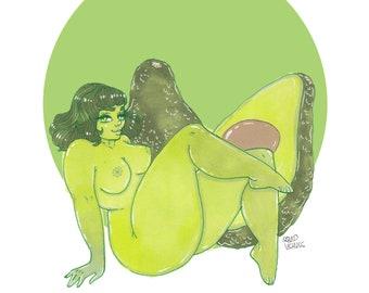 Avocado Babe Large Singular Illustration Prints