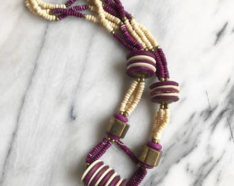 Vintage Chunky African Purple and White Bone Bead and Brass Necklace