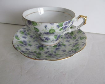 Lavender Purple Tea Cups Fine Bone China Tea Cup Lefton China Tea Cup and Saucer Hand Painted Tea Cup Set Tea Cups