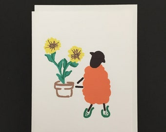 Note Card / Ewe with Sunflower