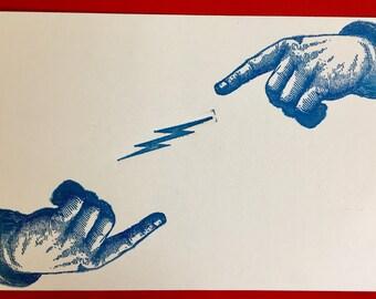 A set of Letterpress handprinted vintage postcards
