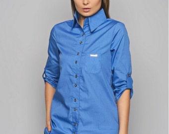 Blue blouse Cotton blouse Woman's shirt Office blouse Blouse with long sleeves Spring blouse Woman blouse Casual blouse  Blouse with buttons