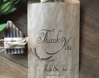 Wedding Candy Bags, Laurel Rustic Cookie Buffet Sacks, Custom Wedding Favors, 25 Cake Bags,  Recycled Brown Paper Personalized Printed Sack