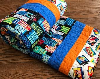 Superhero Quilt/ Handmade Quilt/ Boy Quilt/ Toddler Quilt/ Child's Quilt