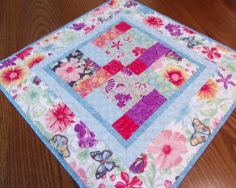 Quilted Patchwork Table Topper, Quilted Spring Table Top, Quilted Table Runner, Table Quilt, Butterflies and Flowers, Quilted
