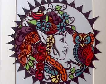 An automatic download digital file,Beautiful hand drawn Faerie papercut template for personal use