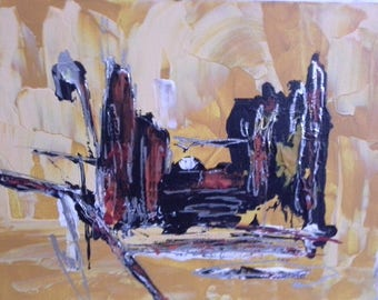 End: original abstract painting, acrylic on canvas, abstract art contemporary, urban passage light under ground.