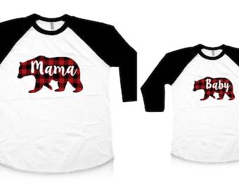 Mama Bear Shirt Buffalo Plaid Mommy And Me Mother Daughter Mama Bear Baby Bear Gift For Mom Family Shirts  Mothers Day Gift Raglan