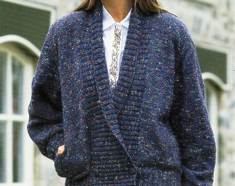 vintage ladies jacket knitting pattern pdf DK womens shawl collar double breasted cardigan 28-38 inch DK light worsted 8ply Instant Download