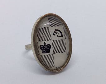 Vintage Book Ring - Alice Chessboard