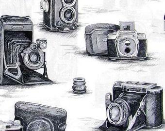 Black & White ANTIQUE CAMERA Fabric 100% Cotton Quilting Apparel Crafts Home decor