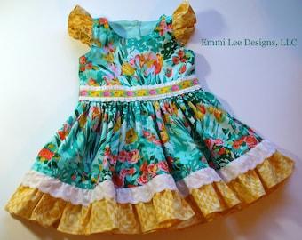 Girls Spring Dress,Girls Easter Dress,Special Occasion,Little Girl Dress,Pepper Dress,Toddler Dress,Yellow,Green,18MO,2T,3T,4T,5T,6,7,8,10