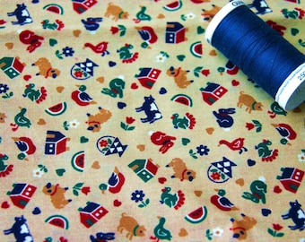 Coupon of farm animals design fabric