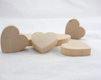 "6 Chunky wooden hearts 2 inch (2"") wide 1/2"" thick unfinished wood hearts diy"