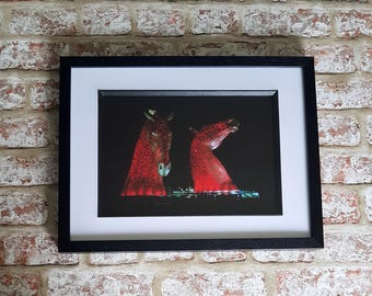 Kelpies at night, Red kelpies, Kelpie Horse statues, Horse statues in red, Kelpies illuminated, Kelpies A4 or A3 Framed Print