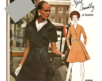 70's FAB Vogue Couturier Design Pattern 2324 Sybil Connolly Diagonal Front Button Dress PLUS Size 40 (22) Uncut FF Sewing Supply