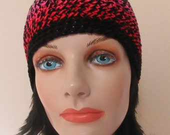 Beanie, Black Red Pink and White Crocheted Hat, Ice Skating, Snow Playing, Hockey Mom