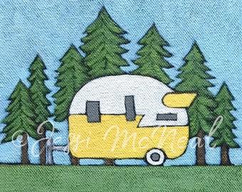 Forest Camper Print - Vintage Camper, Vintage Trailer, Vintage Style, Explore, Camper Painting, Happy Camper