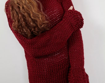 Hand knit woman cotton sweater long pullover sweater wine burgundy