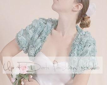 Wedding Mint color bolero/ bridal jacket/cover up 3D  chiffon rouse flowers/shrug with short sleeve/shrug/custom color
