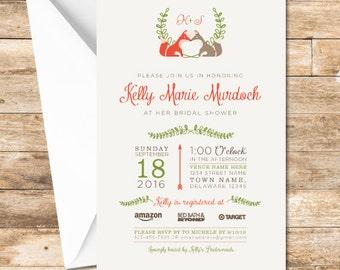 Fox Bridal Shower Invitation, Woodland Shower Invitation, Fox Wedding, Woodland Shower, Woodland Creature Wedding, Digital File or Printed