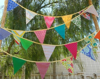 Colorful Bunting / Long Banner - Fabric Flags - 20 feet - Party Decor - Fabric Garland - Wedding decorations - Photo Backdrop -  Long Length