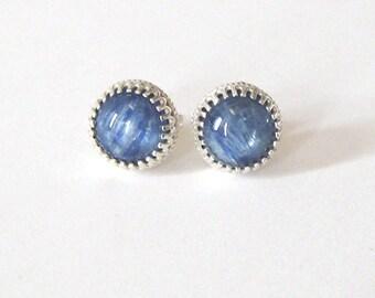 Blue Kyanite Studs, Sterling Silver Post Earrings, Gallery Bezel Settings, Blue Gemstone 8mm Cabochons