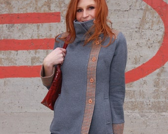 Urban Knit Jacket - Gray knit with wool houndstooth trim, size Large