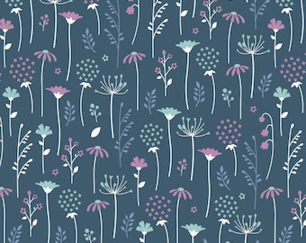 Ethereal Midnight Flowers Metre Cotton Fabric by Camelot (UK)