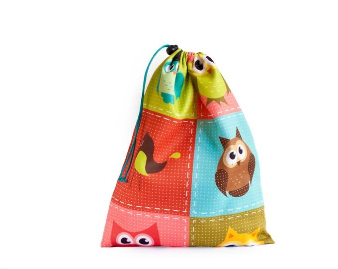 Drawstring Bag. Shoe Bag. Kids Toy Bag With Colorful Owls Kids Toys. Library Bag. Large Drawstring Bag, Kids Book Bag. Toy Storage