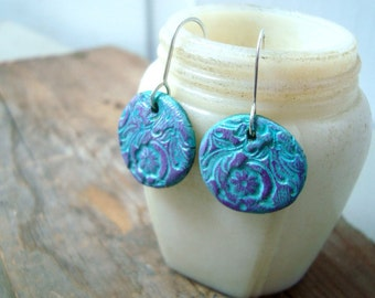 Turquoise and Purple Floral Earrings Polymer Clay Disc Earrings Sterling Silver Brights Baroque Style Aqua Blue Hand Painted