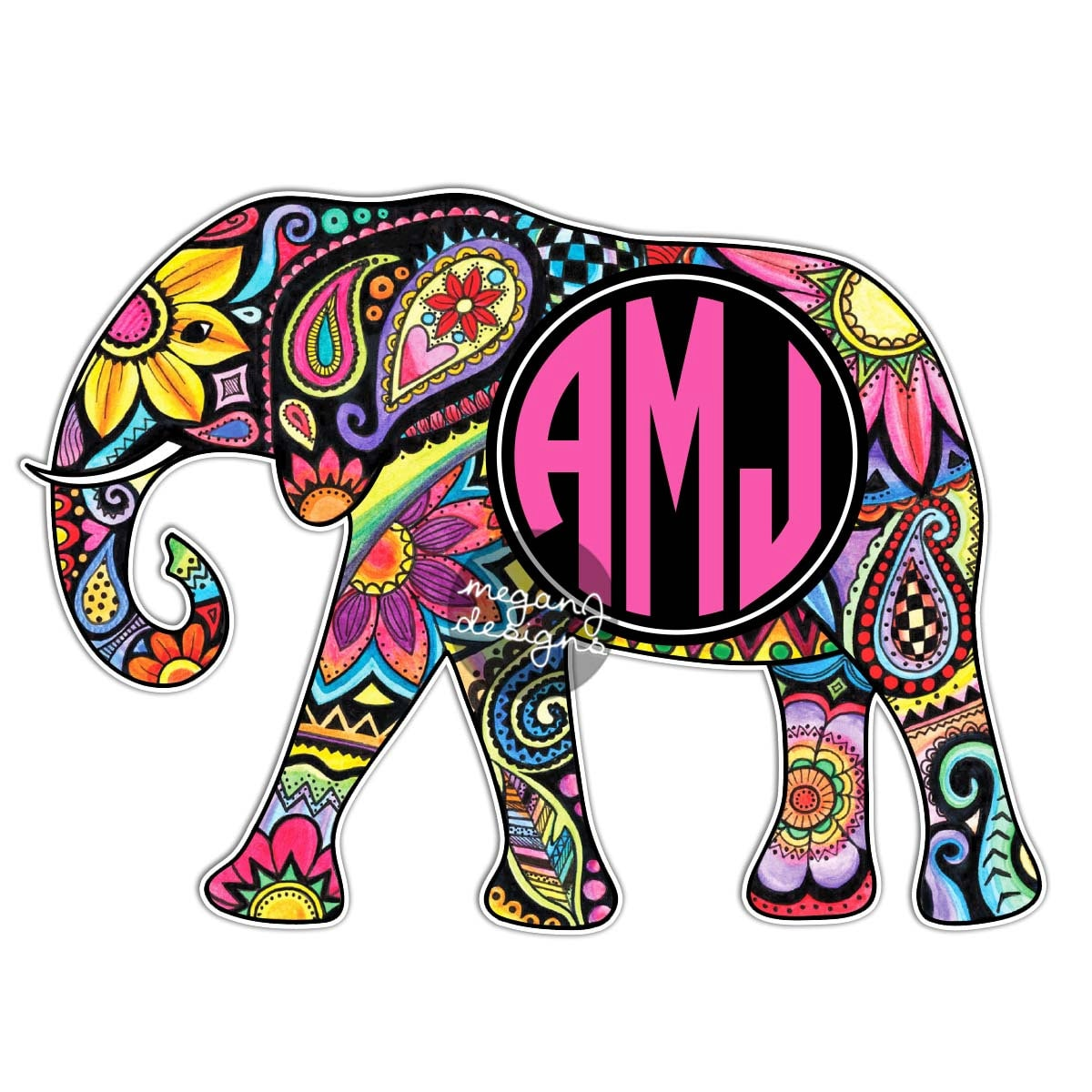 Custom Monogram Elephant Sticker Colorful Design Cute Car