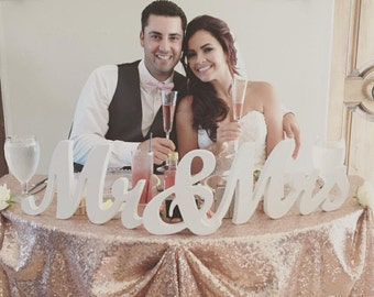 "8"" Wooden Mr and Mrs sign, Gold and Silver Glitter, Wedding Decor, Wedding, Mr & Mrs"