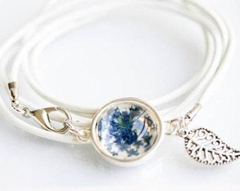 Real Flower Cabochon. real Leather Bracelet. Jewelry bracelet blue dill flower. White-Blue cabochon.  Birthday Gift.  real flower bracelet