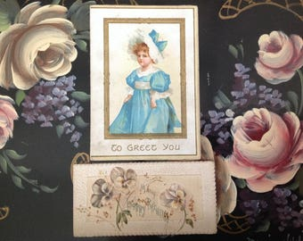 Set of 2 Antique Victorian Cards