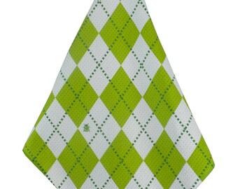 Lime -White Argyle Print Microfiber Golf Towel by BeeJos