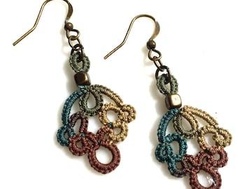 Earthtone Dangle Earrings, Lace Drop Earrings, Rustic Jewelry, Autumn Boho Earrings, Fall Earrings, Multi Color Brown Green, Textile Jewelry
