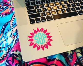 "3"" Sunflower Monogram Laptop Decal, Monogram Decal, Monogrammed Computer Decal, Custom Decals"
